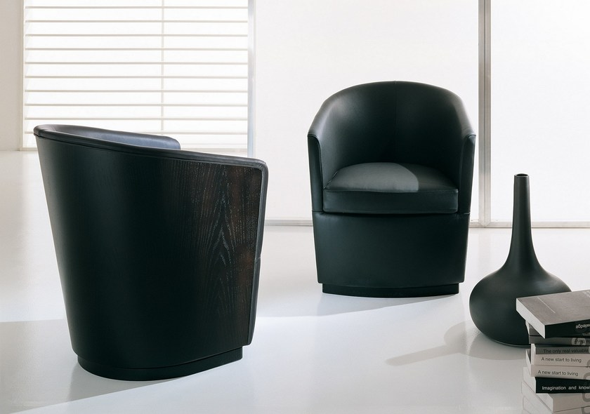 Swivel leather armchair ALLEGRA - BODEMA