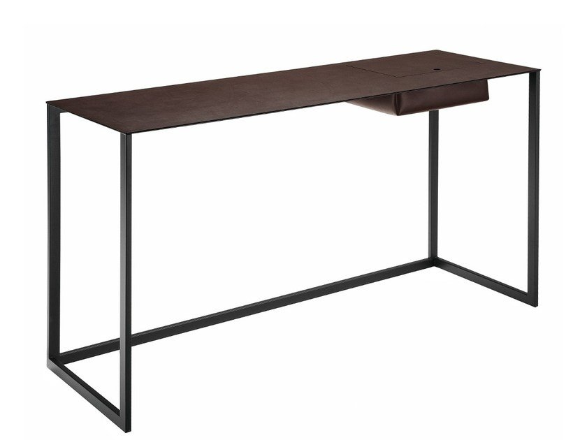 Steel secretary desk with tanned leather top CALAMO - Zanotta