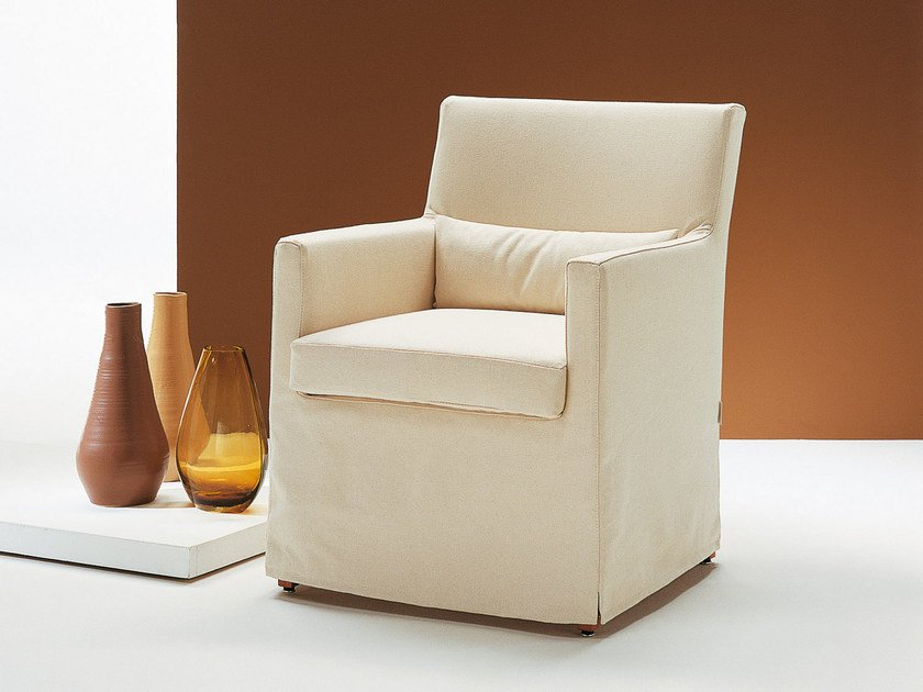 Upholstered armchair with armrests