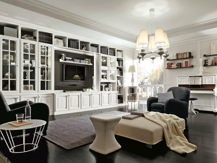 Classic style lacquered TV wall system MILANO | Storage wall - Martini Mobili