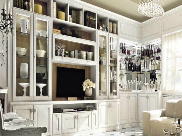 Classic style lacquered TV wall system SAN REMO - Martini Mobili