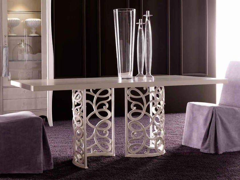 Dining rectangular table - Gambe bianco madreperla - top 195 X 95 rovere sabbiato avorio cat. L