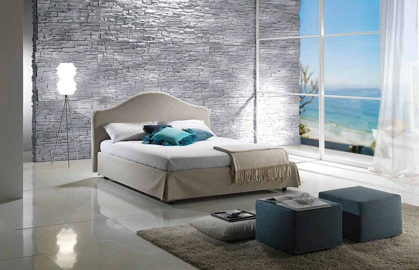 Double bed with removable cover with upholstered headboard