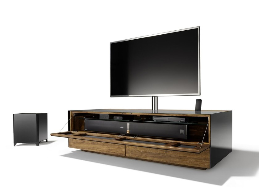 Wood and glass TV cabinet CUBUS PURE | Low TV cabinet by TEAM 7