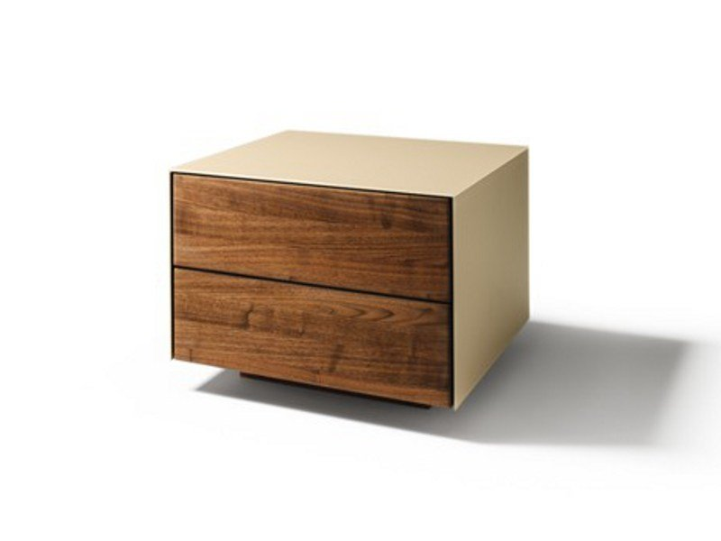 Wood and glass bedside table with drawers CUBUS PURE | Bedside table by TEAM 7