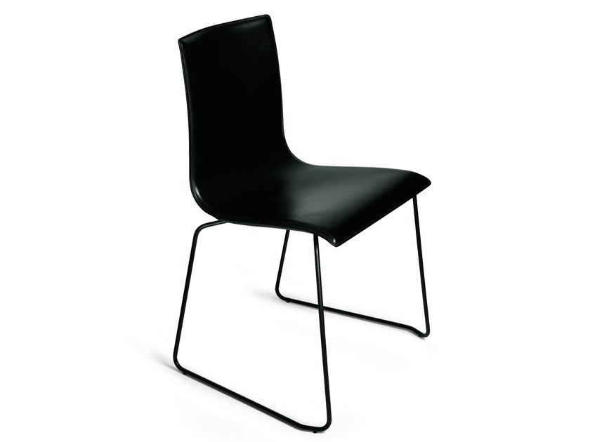 Sled base leather Chair