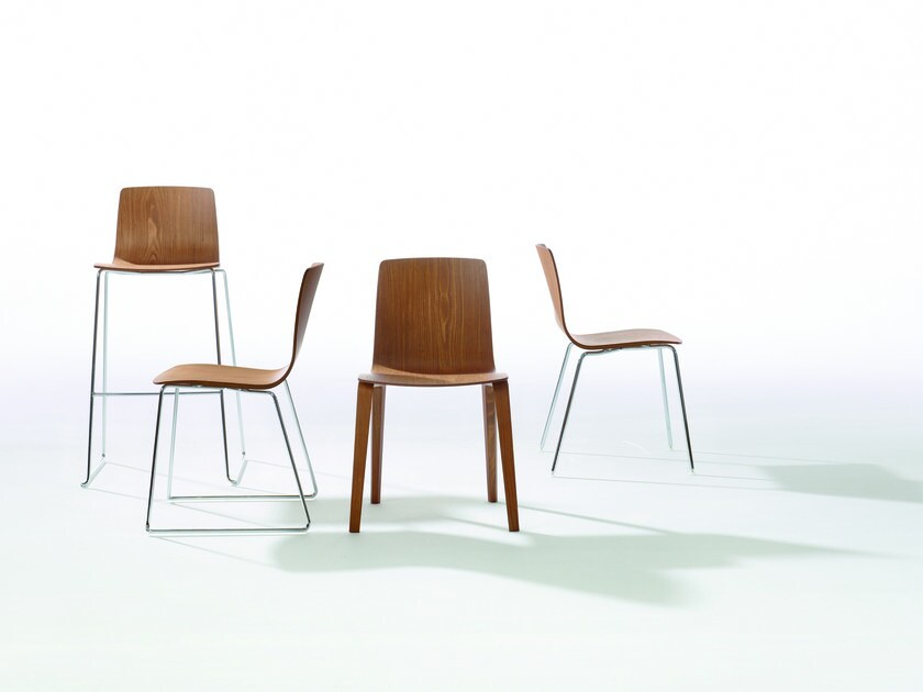 Stackable wooden stool with back AAVA   Stool with back by arper