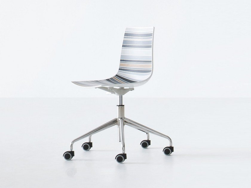 Swivel technopolymer chair with 5-spoke base with casters COLORLFIVE 5R by GABER