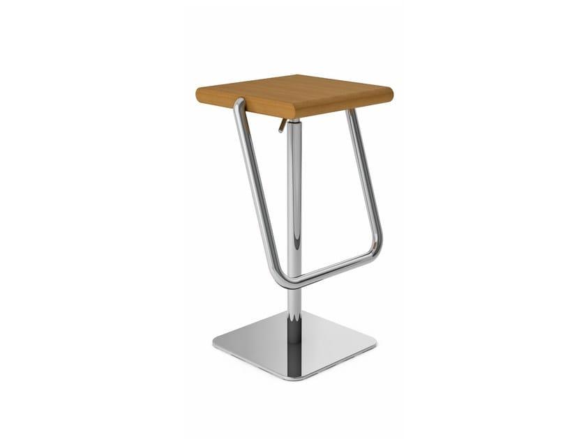 Height-adjustable steel and wood stool
