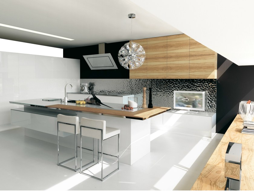 Lacquered olive wood kitchen without handles CONTEMPORA | Olive wood kitchen - Aster Cucine