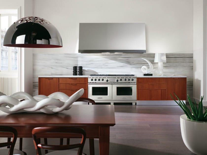 Linear mahogany kitchen