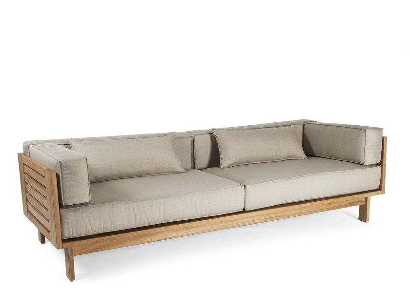 Upholstered teak garden sofa FALSTERBO | 3 seater garden sofa by Skargaarden