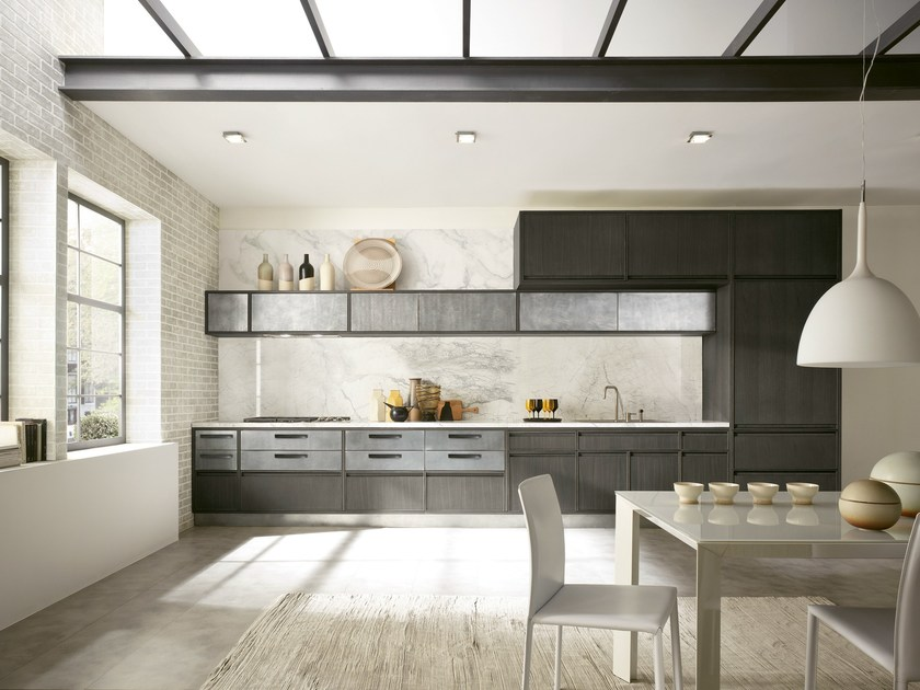 Linear kitchen with integrated handles TIMELINE | Linear kitchen by Aster Cucine
