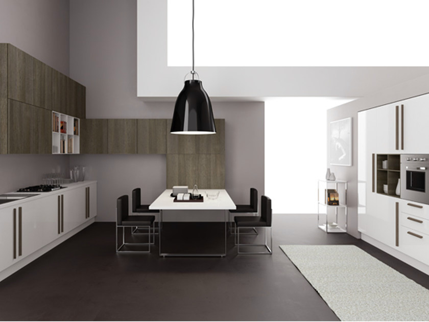 Linear Corex® kitchen with handles - Cucina lineare in rovere con maniglie