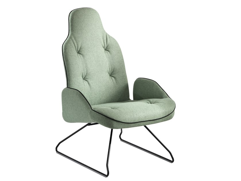 Sled base upholstered armchair with armrests