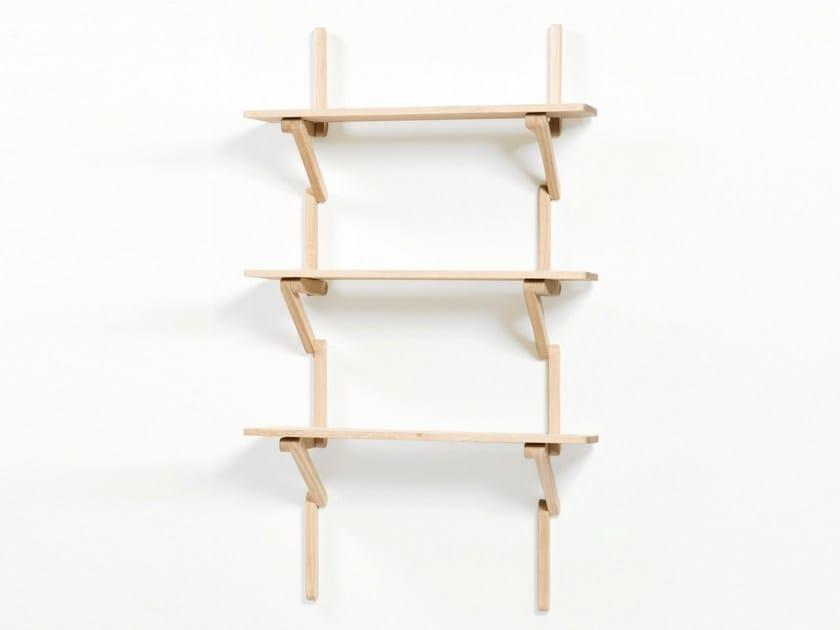 Wall-mounted beech bookcase MÈTRE - Moustache