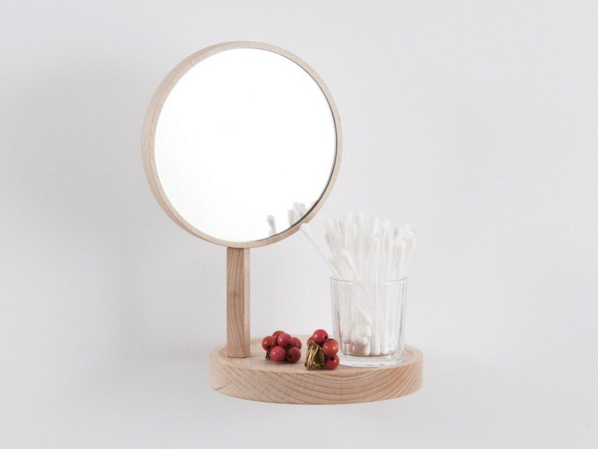 Beech mirror / wall shelf BELVÉDÈRE by Moustache