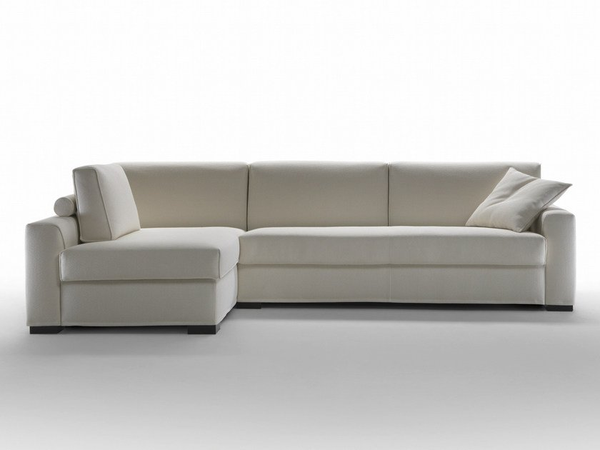Sectional corner sofa bed with headrest