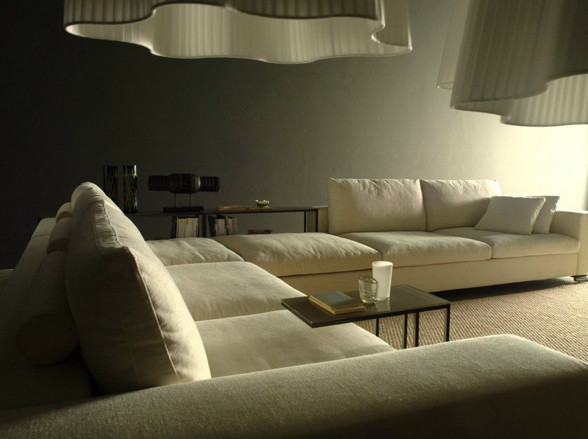 Sectional corner fabric sofa with removable cover - Divano componibile in tessuto ad angolo