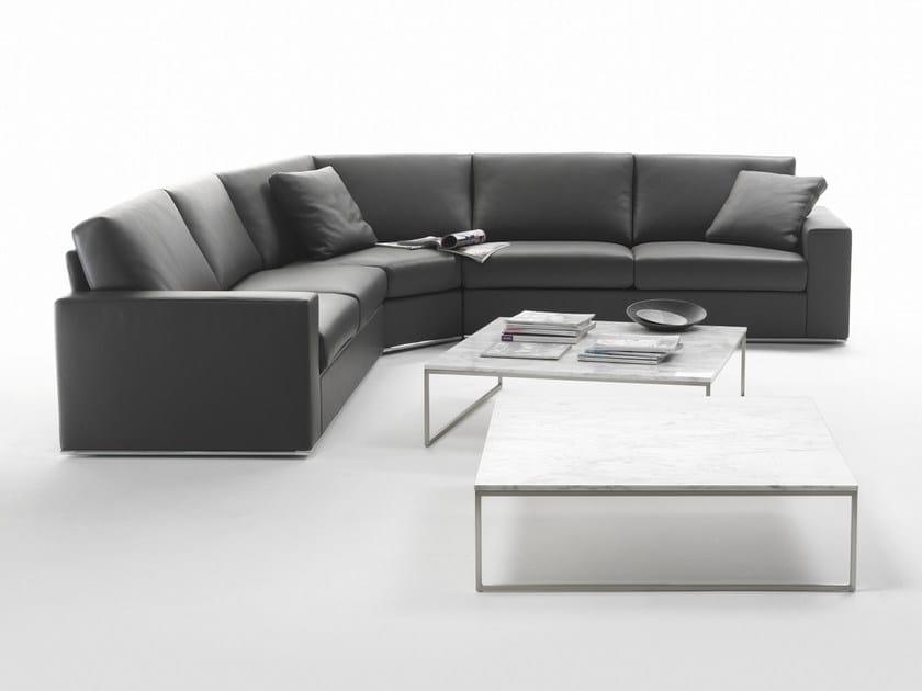 Sectional modular leather sofa