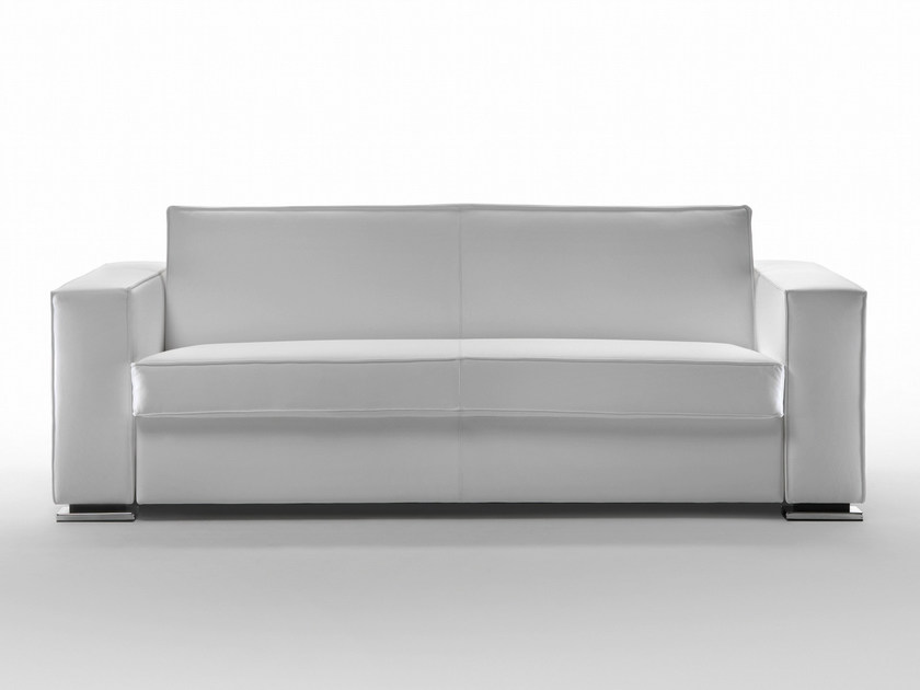 Upholstered leather sofa bed