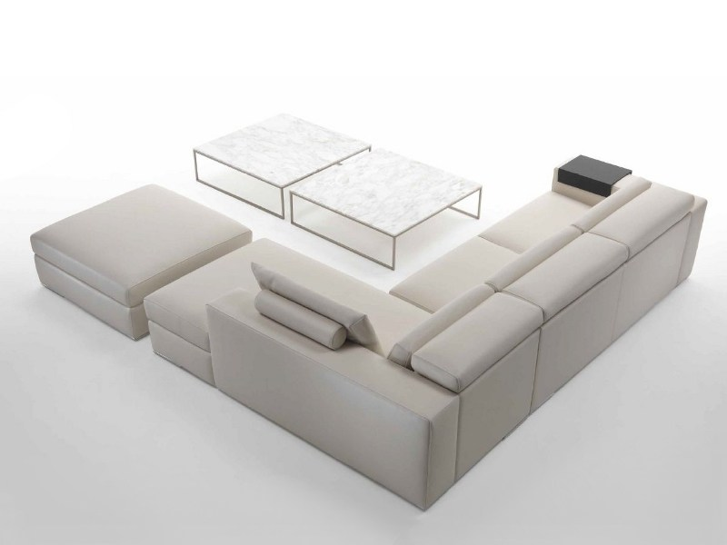 Sectional upholstered leather sofa
