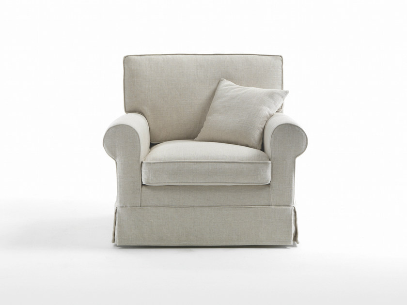Fabric armchair with armrests