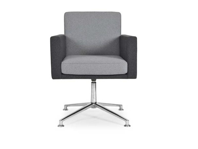 Swivel low lounge chair with 4-spoke base