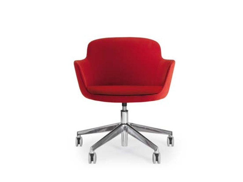 Easy chair with 5-spoke base with casters FLEUR OFFICE by Riccardo Rivoli