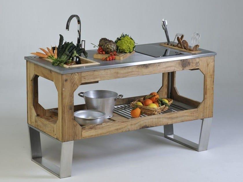 Steel and wood outdoor kitchen WINDOW MOUNTAIN - Lgtek Outdoor