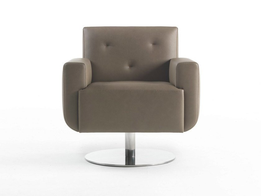 Swivel polyurethane armchair with armrests