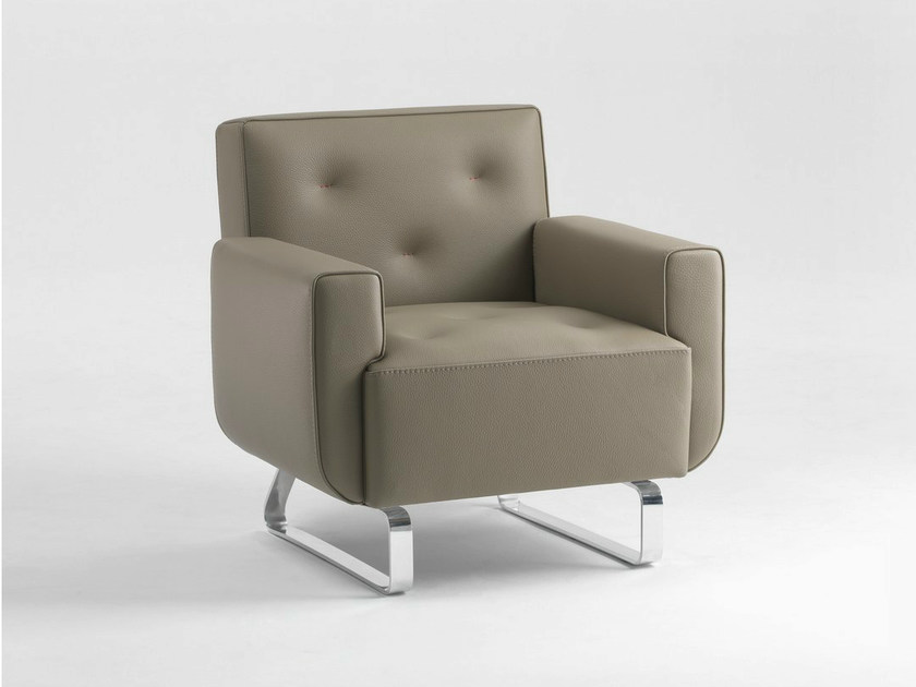 Sled base upholstered polyurethane armchair with armrests