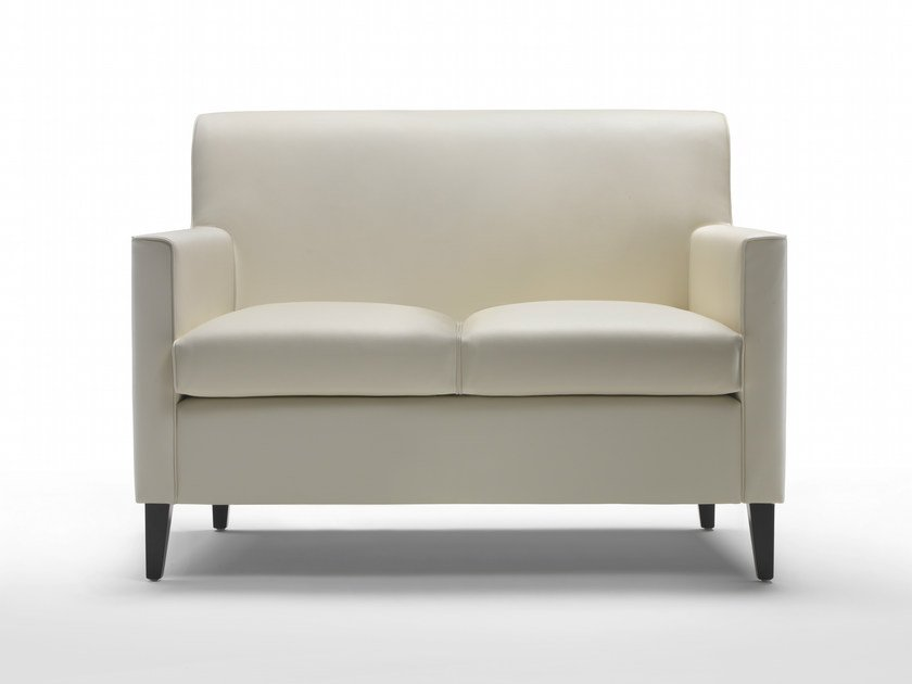 Upholstered 2 seater leather sofa