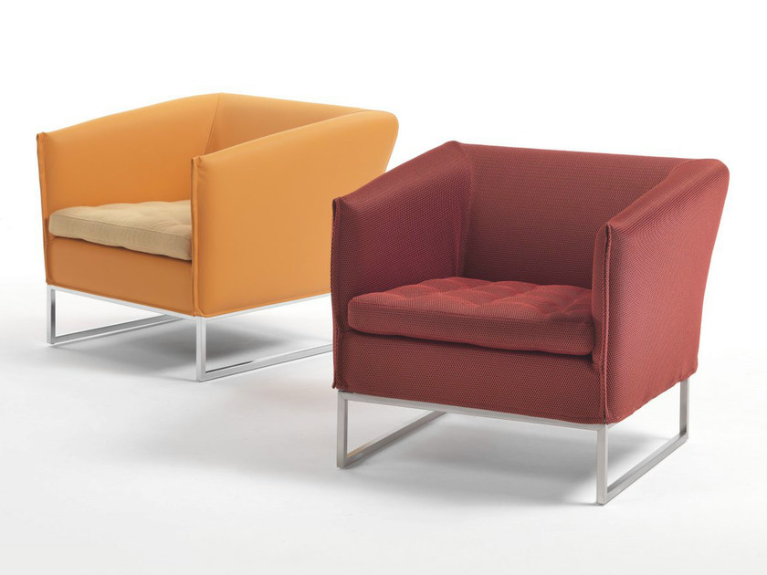 Sled base fabric armchair with removable cover with armrests
