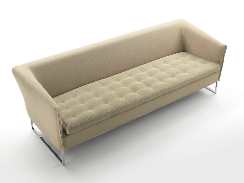 Sled base fabric sofa with removable cover