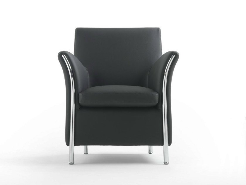 Upholstered polyurethane armchair with armrests
