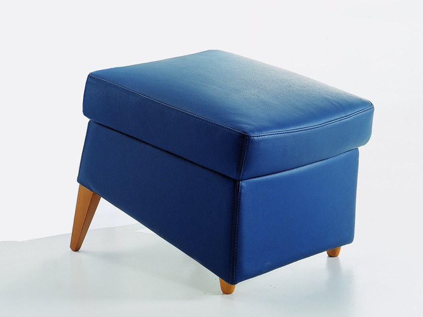 Upholstered leather pouf