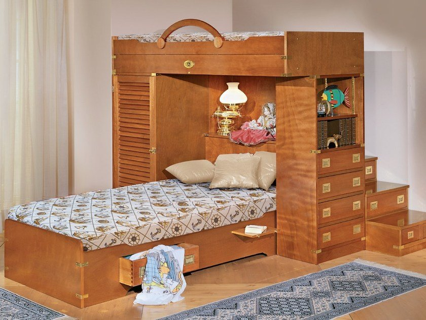 Loft fitted wooden bedroom set with bridge wardrobe 241 | Bedroom set with bunk beds - Caroti
