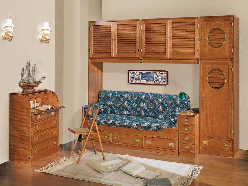 Wooden bedroom set with bridge wardrobe 190 | Bedroom set with bridge wardrobe - Caroti