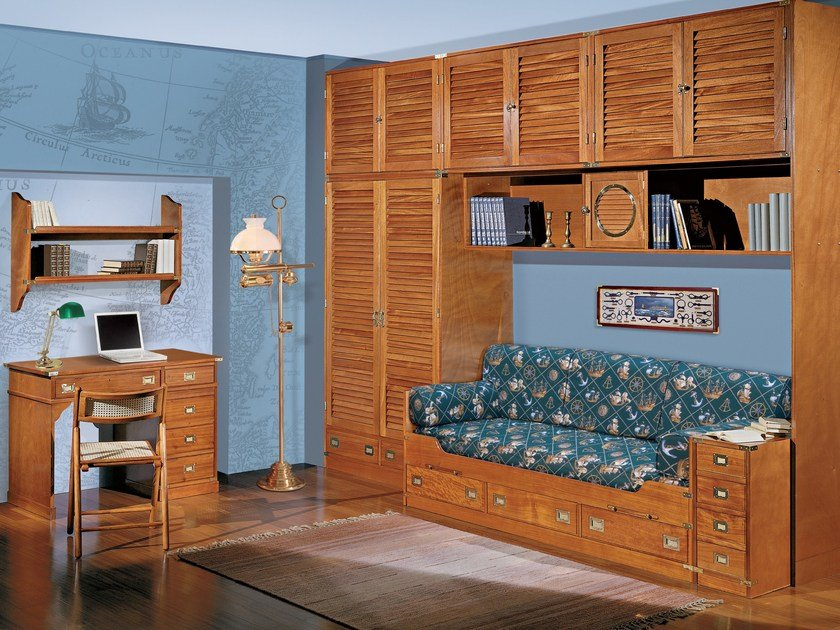 Wooden bedroom set with bridge wardrobe 150 | Bedroom set with bridge wardrobe - Caroti