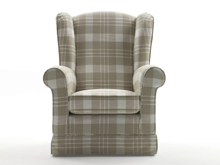 Upholstered fabric armchair with armrests