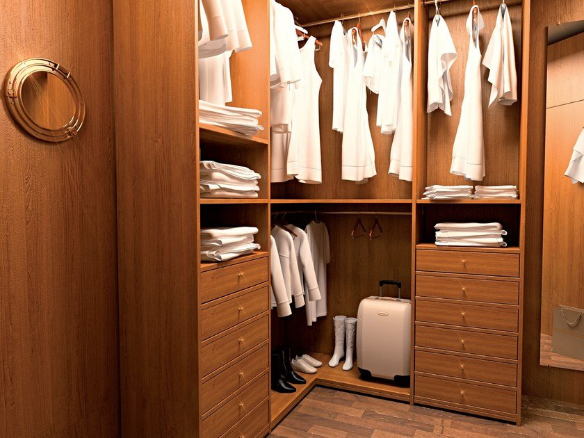 Corner wooden walk-in wardrobe 700 | Corner walk-in wardrobe by Caroti
