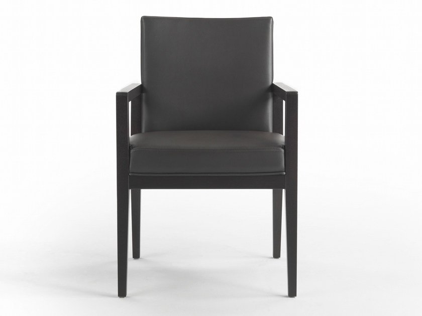 Upholstered oak armchair with armrests