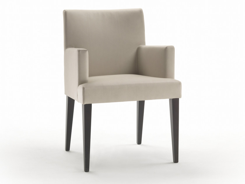 Upholstered solid wood armchair with armrests