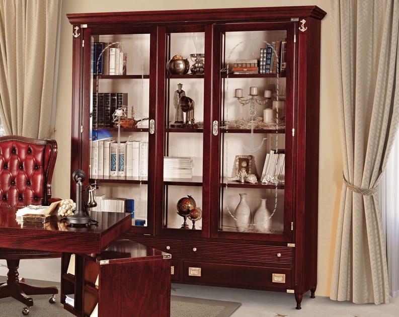 Freestanding bookcase GOLDLINE | Solid wood office shelving - Caroti
