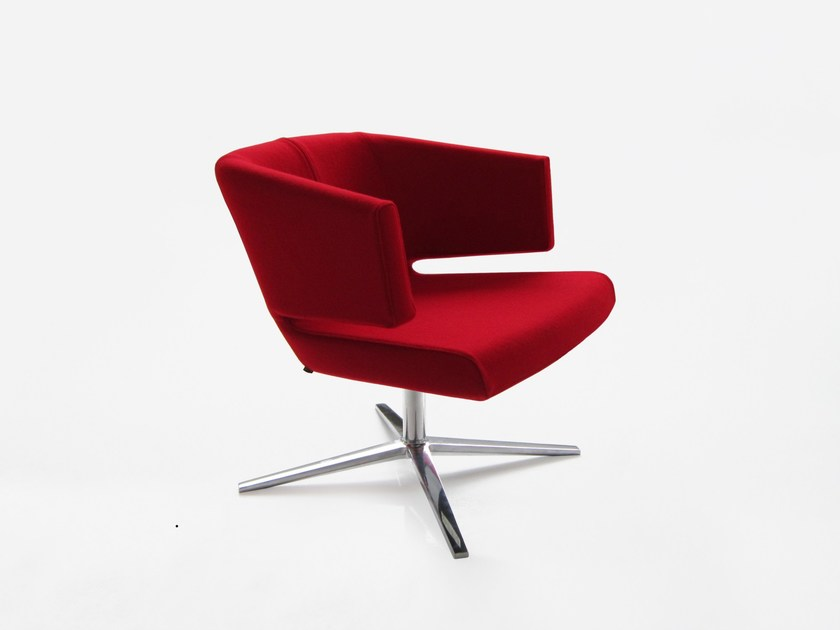 Swivel easy chair with 4-spoke base LOTUS by BENSEN