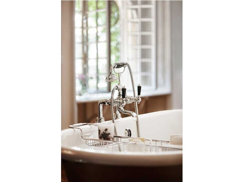 Chrome-plated floor standing bathtub tap with hand shower BERKELEY | floor mounted bath mixer by GENTRY HOME