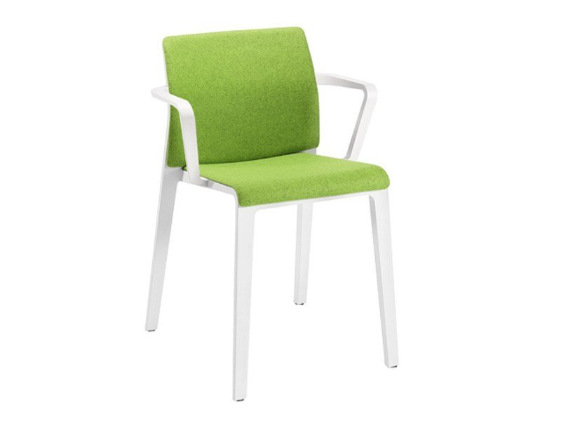 Upholstered stackable chair with armrests JUNO | Chair with armrests - Arper
