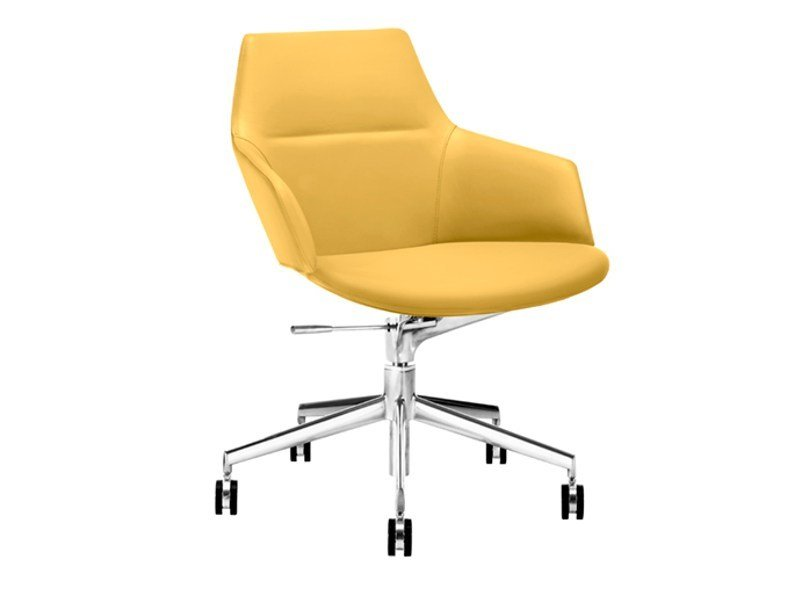 Easy chair with 5-spoke base with casters ASTON | Easy chair with 5-spoke base - Arper