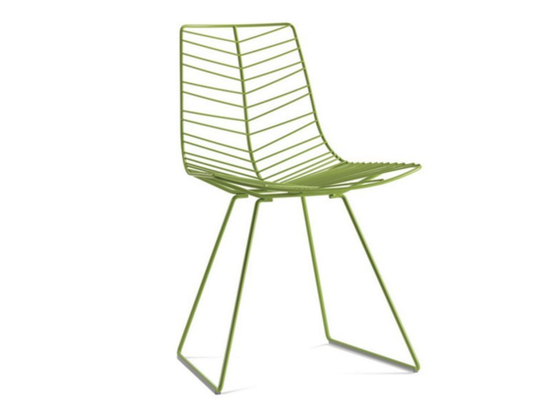 Sled base steel garden chair